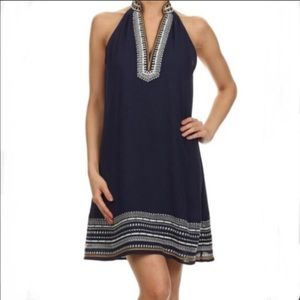 THML Navy Blue Embroidered Sleeveless Dress Size S